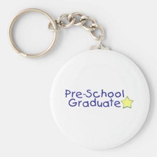 Pre-School Graduate (blue) Basic Round Button Keychain
