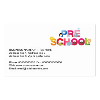 pre school word in fun letters Double-Sided standard business cards (Pack of 100)