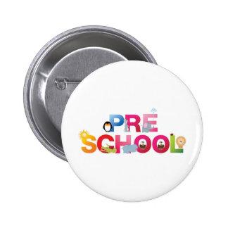 pre school word in fun letters pinback button