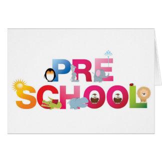 pre school word in fun letters cards