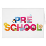 pre school word in fun letters greeting card
