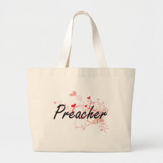 Preacher Artistic Job Design with Hearts Jumbo Tote Bag