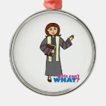 Preacher Girl Round Metal Christmas Ornament
