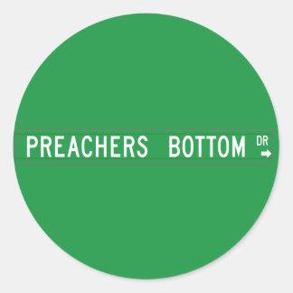 Preachers Bottom Dr., Street Sign, N. Carolina, US Classic Round Sticker
