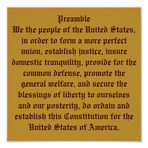 Preamble Of The Constitution  Poster
