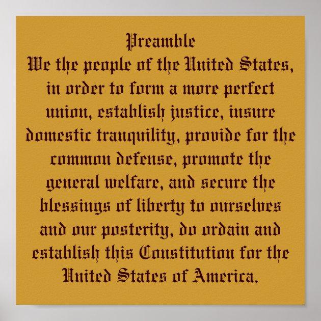 Preamble of the Constitution. Poster | Zazzle