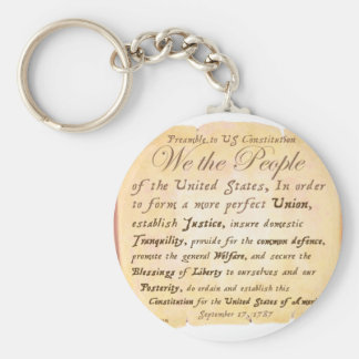 Preamble to Constitution H Basic Round Button Keychain