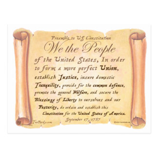 Preamble to Constitution H Postcard