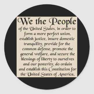 Preamble to The Constitution of the United States Classic Round Sticker