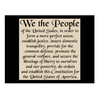 Preamble to The Constitution of the United States Postcards