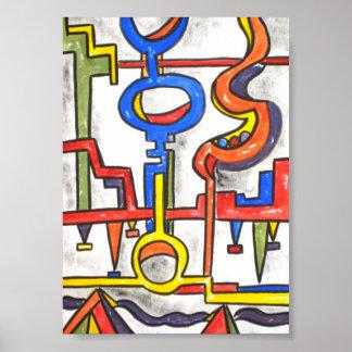 Precarious Plumbing - Abstract Art Handpainted Poster