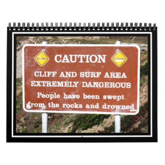Precaución: Área del acantilado y de la resaca Calendario