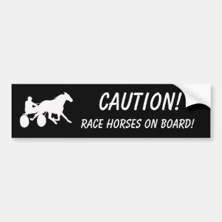 ¡Precaución! ¡Caballos de raza a bordo! Pegatina De Parachoque