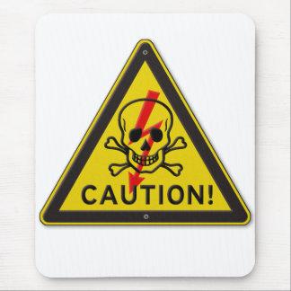 ¡Precaución clásica Señal de peligro con el Tapete De Raton