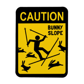 PRECAUCIÓN: Cuesta del conejito - señal de peligro Iman Rectangular