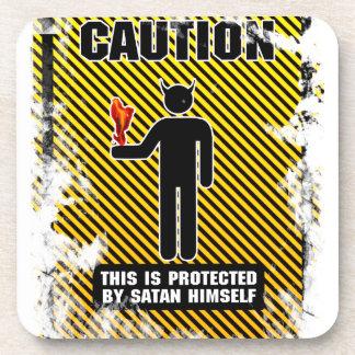 Precaución divertida Satan Posavasos De Bebida