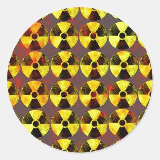 precaución, energía nuclear pegatina redonda