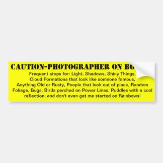 ¡Precaución-Fotógrafo a bordo Pegatina De Parachoque
