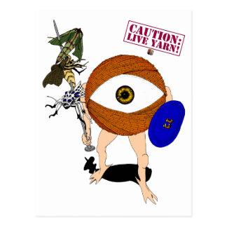 Precaución: ¡Hilado vivo! Cazador Tarjetas Postales
