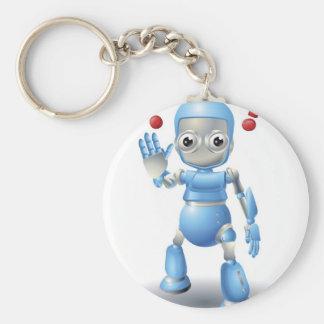 Precaución linda del carácter del robot llaveros personalizados