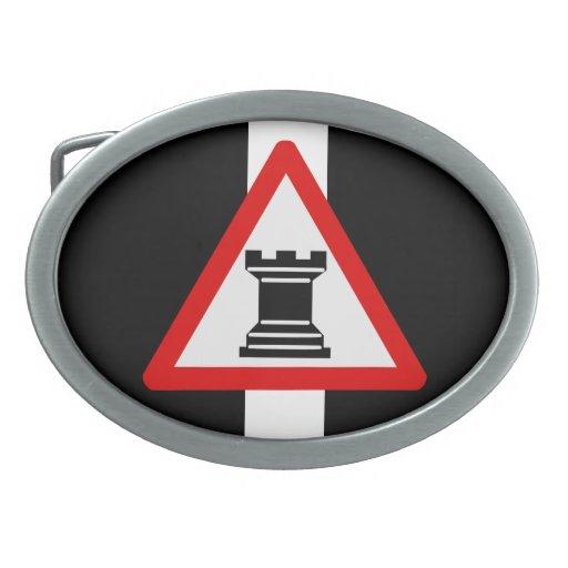 Precaución: Muestra del pedazo de ajedrez del graj Hebilla Cinturón