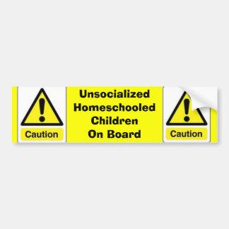 Precaución Niños de Homeschooled Etiqueta De Parachoque