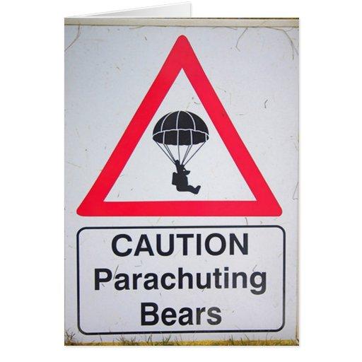 Precaución:  Osos que se lanzan en paracaídas Tarjeta De Felicitación
