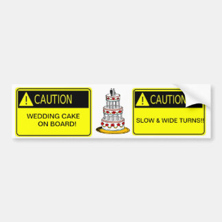 ¡precaución! ¡pastel de bodas a bordo! pegatina pa etiqueta de parachoque