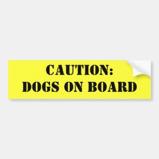 Precaución: Perros a bordo Pegatina Para Auto
