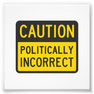 Precaución político incorrecta cojinete