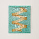 Precaución, propósito, fe en azul