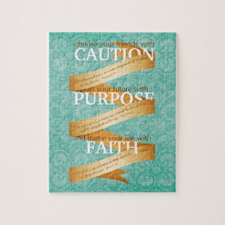 Precaución, propósito, fe en azul rompecabeza