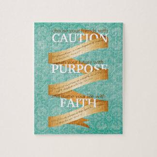 Precaución, propósito, fe en azul puzzles