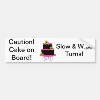 ¡Precaución! Torta a bordo pegatina para el parach Etiqueta De Parachoque