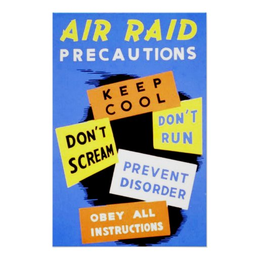 Precauciones del ataque aéreo póster