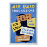 Precauciones del ataque aéreo WPA 1941 Impresiones
