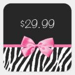 Precio blanco y negro de moda del rosa del calcomanía cuadradas personalizada