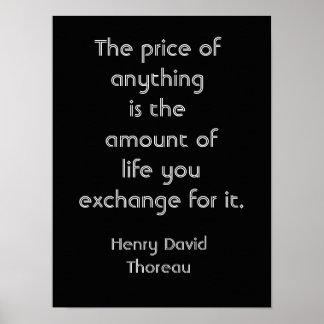 Precio de cosas -- Cita de Thoreau - impresión del Póster