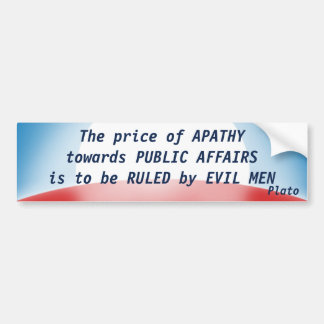 Precio de la apatía (Platón) Pegatina De Parachoque