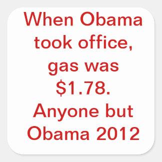 Precio de la gasolina de Obama Pegatina Cuadrada