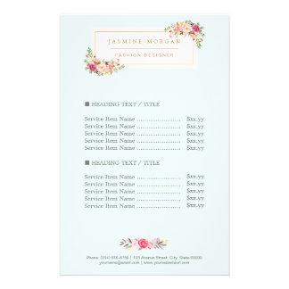 """Precio floral de la acuarela en colores pastel folleto 5.5"""" x 8.5"""""""