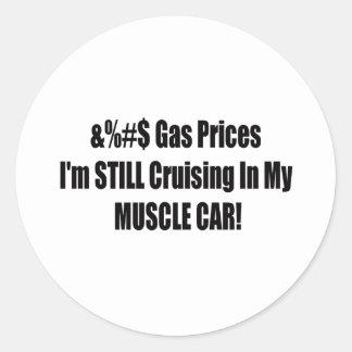 Precios de la gasolina de F Im todavía que cruza Pegatina Redonda
