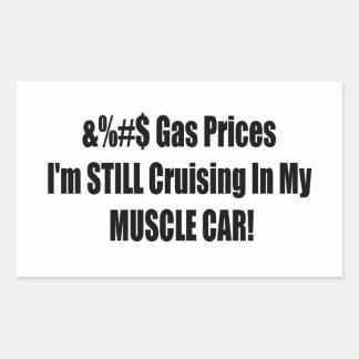 Precios de la gasolina de F Im todavía que cruza Pegatina Rectangular