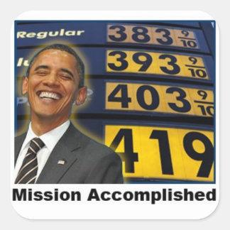Precios de la gasolina de Obama que se elevan Colcomanias Cuadradas Personalizadas
