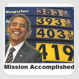 Precios de la gasolina de Obama que se elevan Pegatina Cuadrada