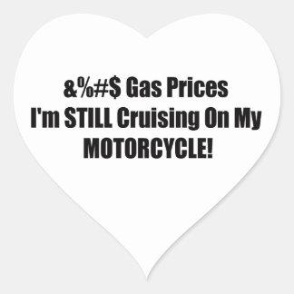 Precios de la gasolina Im todavía que cruza en mi Pegatina En Forma De Corazón