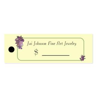 Precios de la mercancía (flores púrpuras) plantilla de tarjeta de visita