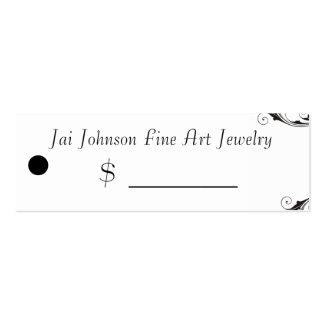 Precios de la mercancía (remolino negro y blanco) tarjetas de visita mini