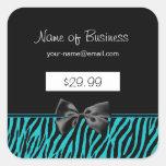 Precios de moda del estampado de zebra del negro y calcomania cuadradas personalizadas