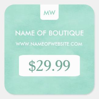 Precios elegantes del monograma del boutique de la pegatina cuadrada